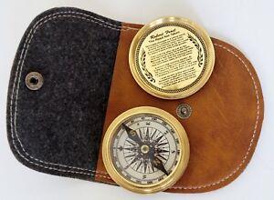 "Brass Compass Leather Case Golden Stanley London Maritime 2"" Pocket Compass Gift"