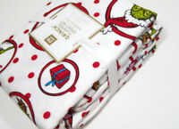 Pottery Barn Teen Christmas Circle Grinch Flannel Cotton XL Twin Sheet Set New