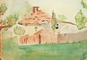 Vintage expressionist watercolor painting rural landscape house