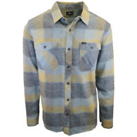 Rip Curl Men's Pastel Green Yellow Plaid L/S Flannel Shirt (S09)