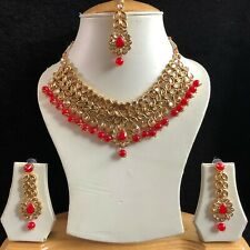 RED GOLD INDIAN KUNDAN COSTUME JEWELLERY NECKLACE EARRINGS CRYSTAL SET NEW 053