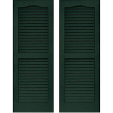 SET of 2 VANTAGE Exterior Louver Arch Shutters 14 x 59 Vinyl MIDNIGHT GREEN USA