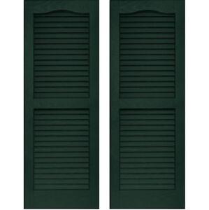 SET of 2 VANTAGE Exterior Louver Arch Shutters 14 x 47 Vinyl MIDNIGHT GREEN USA