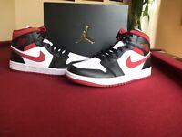 Air Jordan 1 Mid 'Metallic Red' White Black Gym Red - Size 10- 554724-122