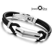 Men Stainless Steel Bracelet Black Leather Bracelet Cuff Bangle Gifts For Men