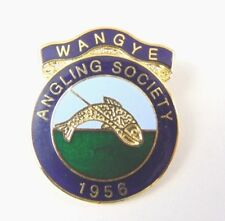 Vintage Enamel WANGYE Angling Society Pin Lapel Badge - Fishing Portland est1956