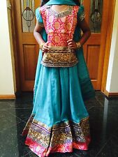 "24"" Size Age 3 4 Lehenga Choli Indian Bollywood Kids Dress Girl Skirt Aqua Pink"