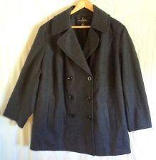 London Fog Wool Blend Women Double Breasted P-Coat Style Gray Coat Size 2XL
