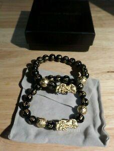 2 x Bracelets Buddha Power Black and Gold