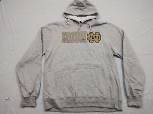 M144 New ADIDAS Notre Dame Fighting Irish Gray Hooded Sweatshirt Hoodie MEN'S