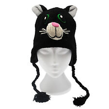 Fun Crazy Cat Handmade Winter Woollen Animal Hat Fleece Lining One Size, UNISEX