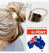 Hair Elastic Ponytail Tie Style Tool Accessory Retro Vintage Leaf Metallic Gold