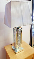 Arrugado Cristal Espejo de Lámpara Mesa con Plateado Dibujo Pantalla Moderno