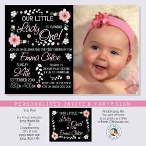 LITTLE LADY floral INVITATION INVITE personalised YOU PRINT 1st