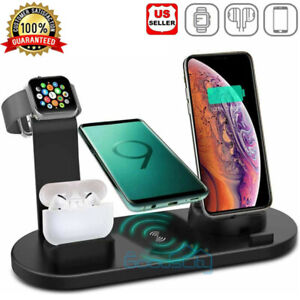6in1 Wireless Charger Qi Fast Charging Station for iPhone 12/11ProMax/X/XS/XR/8