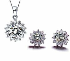 925 Sterling Silver Sunflower Necklace Chain Earrings Sets Cubic Zircon Crystal