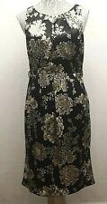 FEVER Sheath Dress UK 12 Black with Gray Floral Print Slinky Satin Feel Elegant