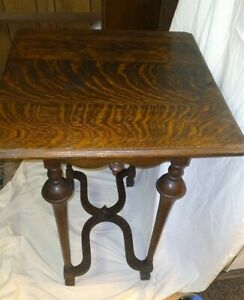 Antique French Tiger Oak nob legs Table ~ Entry Table mid century Vintage
