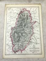 1857 Antique Map of Nottinghamshire Nottingham County 19th Century Hand Coloured