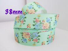 Hermosa De Flores de cinta de Grogrén Hair clips Pastel Craft Arco del pelo por metro 38mm
