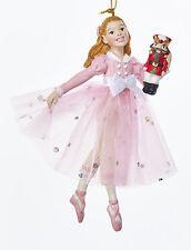 "KSA NUTCRACKER BALLET 5"" RESIN PINK CLARA HOLDING NUTCRACKER CHRISTMAS ORNAMENT"