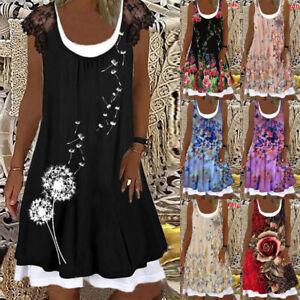 Summer Womens Ruffled Sleeveless Midi Dress False 2 pcs Shirt Dresses Plus Size