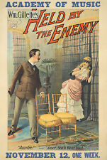 Original Vintage Poster Theater American Held by the Enemy Drama 1886