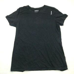 Reebok Shirt Youth Size Extra Large XL Black White Short Sleeve Tee Kids Boys