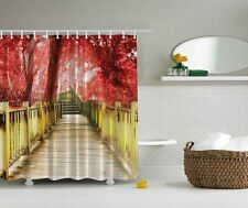 Rustic Wooden Deck Red Leaves Graphic Shower Curtain Fall Harvest Bath Decor