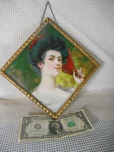 Antique Flue Cover PRETTY VICTORIAN LADY w RED FAN Made in Germany Diamond Shape
