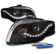 FOR 05-09 AUDI A4 S4 B7 DRL LED BLACK PROJECTOR HEADLIGHTS W/BLUE BUMPER DRL KIT