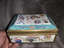 Antique Chinese Porcelain Box w/ Lid COPPER BRASS Floral Enamel Painted