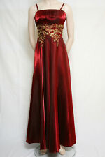 LONG BURGUNDY PARTY PROM DRESS STRAPS GOLD SEQUINS APPLIQUE BY CHERLONE 14/16