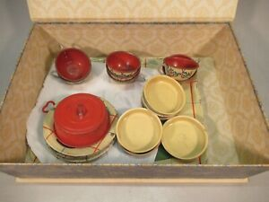 Ohio Art Tin Toy Dishes and Tea Play Set--1950's--in display box