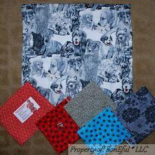 BonEful Fabric COTTON SCRAP QUILT LOT Blue B&W Dog Breed Paw Print Pet Dot S Red