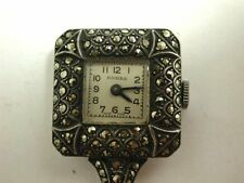 Very Pretty Art Deco Solid Silver & Marcasite Fob Watch 1930s/1940s Good Order