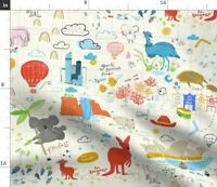 36 X 44 Panel Animals Around the World Zoo Animals Map Kids Geography Continents Oceans Zookeeper Cotton Fabric Panel D775.82