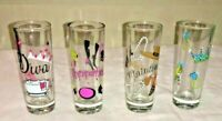 SHOT GLASSES DECORATED GIRLY LOT OF 4 DIVA SHOPAHOLIC HIGH MAINTNANCE CROWN VGUC
