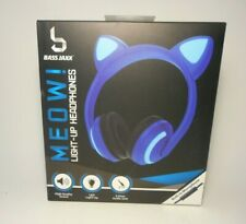 Meow!! LED Light-Up Cat Ear Headphones with Built-in Microphone (Blue)