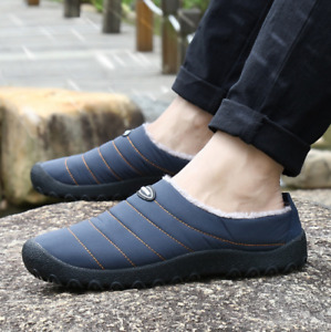 Mens Slip On Flat Shoes Loafers House Living Cotton Slippers  EUR36-46 Size Warm