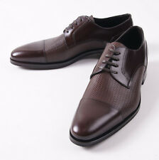 NIB $650 CANALI 1934 Brown Textured Leather Cap Toe Derby US 11 D Dress Shoes