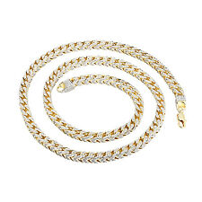 Mens Iced Out Heavy Franco Necklace 14K Yellow Gold Finish Lab Diamonds 30 Inch