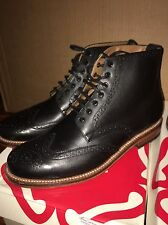 Grenson ALFRED Black Calf Brogue Boots Mens Size 12 US  Wingtip Shoes Brand New