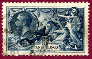 Great Britain, 10/- GREY-BLUE, 1918, SG417, FU.