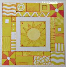 Funky Yellow Sun Rub On Permanent Transfer Glass Tile Plastic Scrapbooking DT65