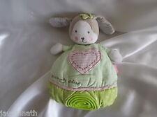 Doudou lapin vert, blanc, rose, semi-plat, Babysun