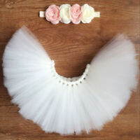 Newborn Baby Flower Headband+Tutu Skirt Photo Photography Props Costume Outfit