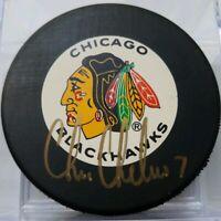 CHRIS CHELIOS HOF SIGNED VINTAGE CHICAGO BLACKHAWKS NHL TRENCH MFG. PUCK NO COA
