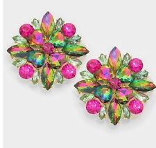 """1.25"""" Clip On Stud Multicolor Fuchsia Iridescent Ab Pink Green Crystal  Earrings"""