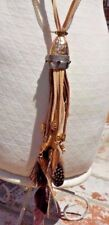 AUSTRIAN CRYSTAL CHAINS FEATHERS CHARMS LEATHER BOHO NECKLACE W/ FREE SHIPPING
